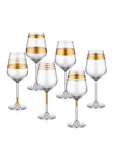 The Mia Lines Şarap Kadehi 6'lı Set - Gold Altın